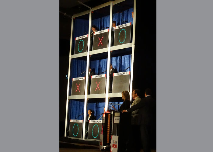 Side view of Celebrity Squares set