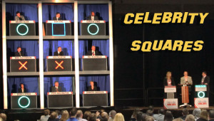 Scripted Celebrity Squares for educational application
